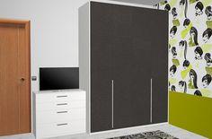 Detalle del armario de cuatro puertas batientes en color antracita