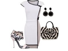 White dress with black outline. Black and white bag.