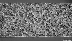 """Border, 17th c., Italian needle lace. MMA, 33.90.35. """"Seventeenth-century lace has a voluminous character—rather than the light and airy form of later periods—reflecting an era when luxury was equated with grandeur. Here, a careful balance is achieved between the solid forms of the formalized leaves and flowers and the voids in between... Lace of this type was made in several sizes—the boldest designs on the largest scale being known as gros point..."""""""
