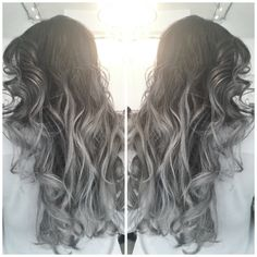 Silver Balayage on dark base Hand painted Balayage Silver hair Grey hair metallic hair