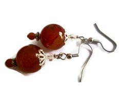 Red Carnelian Earrings Orange Gemstone Earrings by chicagolandia, $15.00