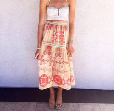 For Love and Lemons  WANTED & WILD BUSTIERand Barcelona midi skirt