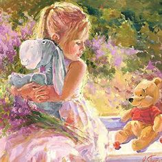 Pooh and girl painting by Irene Sheri