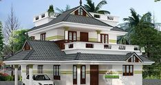4 bedroom beautiful sloping roof house architecture plan by Viva Arch Architects, Palakkad, Kerala.