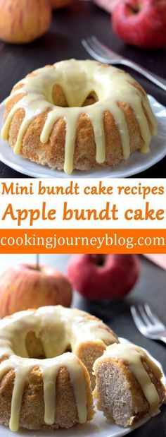 Apple bundt cake with white chocolate on top. Are you searching for apple coffee cake? This apple bundt cake is perfect for pairing with your morning coffee or tea. Mini bundt cake recipe for one. Apple Recipes, Baking Recipes, Cake Recipes, Dessert Recipes, Dessert Ideas, Bunt Cakes, Cupcake Cakes, Mini Bundt Cake, Cupcakes