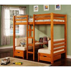 Twin Over Table Convertible Bunk Bed, Maple
