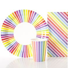 Rainbow plates, cups & matching treat bag pack (set of 10)   hardtofind.