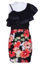 Black One-Shoulder Spaghetti Strap Floral Dress  #SheInside