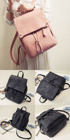 Simple Frosted Solid Color PU Draw String Square Flap Girl's College Backpack for big sale! #Backpack #Bag #pu #college #simple #string