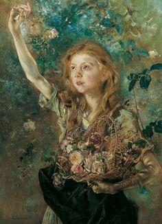 'Die Rosenpflückerin' (Young girl picking up roses), 1883 // Anton Romako (1832-1889)