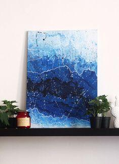 "50x70cm (19x27"") Canvas, Abstract original acrylic painting- fluid art- white, blue- wall art- home, office- contemporary art- modern"