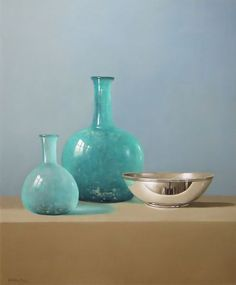 Tony de Wolf  |  Two blue Glass Vases and a silver Bowl  |  oil on panel