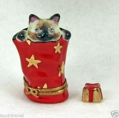 NEW CHRISTMAS FRENCH LIMOGES BOX SIAMESE KITTY CAT KITTEN IN XMAS BAG &XMAS GIFT
