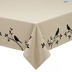 Dress up any table with the Bird Burlap Printed Tablecloth, available at the Food Network Store.