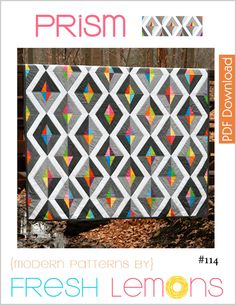 The Prism quilt pattern is a simple yet bold paper pieced quilt pattern.  The quilt uses a variety of shades of grey and a rainbow of bright colors. This quilt pattern assumes the quilter has knowledge of the paper piecing process.This listing is for a digital copy of the directions only (PDF).The following is included in this detailed quilt pattern: ★ Measurements/Requirements for 5 Sizes of Quilt : Crib, Throw, Twin, Queen and King★ Paper Pie...
