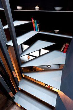 YUUA - Space saving half-spiral stair case.