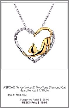 Two-Tone Diamond Cat Heart Pendant ASPCA Tender Voices Collection