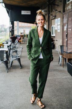 Valleta Pants - Linen Pants - Green Linen Pants - Linen Pants Suit - Linen Pants Women - Slim Linen Pants - Long Linen Pants - Lilly is Love Linen Pants Women, Linen Trousers, Trouser Suits, Riga, Blazers For Women, Suits For Women, Green Suit Women, Costume En Lin, Green Suit Jacket