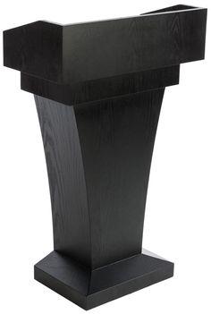 MDF Podium for Floor, High Desktop Sides, Sliding Drawer, MDF – Black