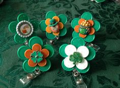 St, Patrick's Day Retractable badge holders made from colorful medication vial flip off caps