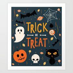 Trick or Treat Art Print by cartoonbeing Halloween Cards, Halloween Treats, Halloween Decorations, Kids Room Design, Trick Or Treat, Wedding Signs, Creepy, Cartoon, Art Prints