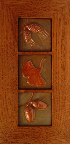 Framed tryptic of three  3  green tiles by FayJonesDayTile on Etsy