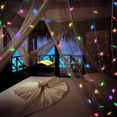Plug-in LED Twinkling Stars String Lights is the perfect light up party idea. Indoor use only + add them to transparent fabric like tulle for an extra magical look.