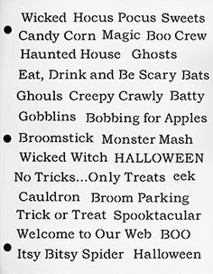 Halloween Writing Words Stencil