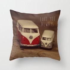Cars Pillow Cover Love Quote Vintage Volkswagen Van by Studio Yuki, $35.00