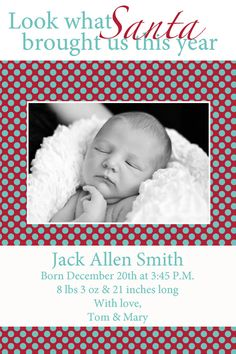 Very Blah Card But The Wording Is Cute For A December Baby Birth Announcement
