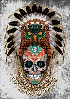 indian native Owl sugar Skull Posters #posters #homedecor #wallpaper #bedroom #thedayofthedead #mexico #sugarskull #mexicoskull #horror #pattern #love #popart #indian