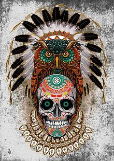 'indian native Owl sugar Skull' Art Print by Dadang Lugu Mara Perdana Sugar Skull Owl, Sugar Skull Artwork, Sugar Skull Tattoos, Sugar Skull Wallpaper, Indian Skull, Aztec Art, Marquesan Tattoos, Tier Fotos, Owl Art
