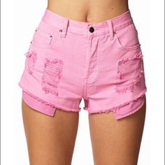 Pink Distressed High Waisted Shorts Worn only a few times. They aren't as bright pink as the picture shows, color is shown in the last picture Forever 21 Shorts Jean Shorts