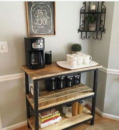 How to build a modern farmhouse coffee table - Couchtisch DIY - Coffee Coffee Nook, Coffee Bar Home, Home Coffee Stations, Coffee Bar Ideas, Office Coffee Station, Coffee Station Kitchen, Coffee Tables, Beverage Stations, Coffee Bar Design