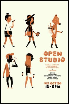 I share a studio with Isabelle Arsenault, Cyril Doisneau and the great Quebec comics publisher, La Pasteque. We're having an open studio next Saturday. Please pop in and say hi if you're in the Montreal area… Heart Illustration, Funny Illustration, Open Art, Book Signing, Sign Printing, Character Design References, Poster Prints, Art Posters, Poster Designs