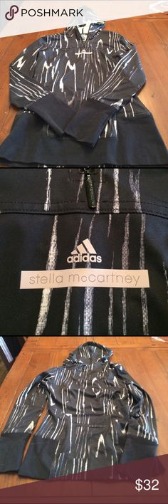 Adidas Stella McCartney black/cream pullover sz s Black and cream 1/4 zip pullover with hood sz small in excellent condition Adidas by Stella McCartney Tops Tees - Long Sleeve