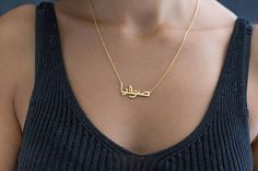 Customized Arabic Letter Name Necklace Personalized Jewelry Silver Gold Rose Choker Nameplate Necklace Women Men Bridesmaid. Click visit to buy #PendantNeklace