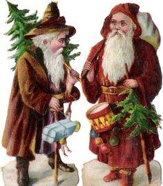 Oblaten Glanzbild scrap die cut Nikolaus 7,8cm santa father XMAS Weihnachtsmann