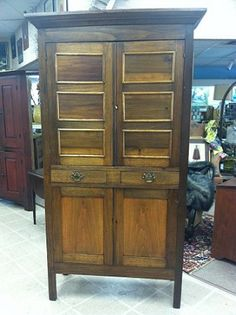 Gorgeous American Southern Carved Cherry Pie Safe circa 19th Century Pie Safe, China Cabinet, Cupboard, Armoire, 19th Century, Carving, Storage, Cabinets, Addiction