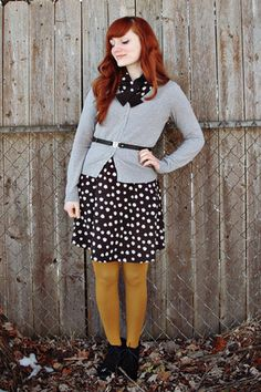 Black-charlotte-russe-dress-mustard-mossimo-tights-silver-h-m-cardigan {The Joyful Fox} Yellow Tights, Colored Tights, Cute Fall Outfits, Stylish Outfits, Autumn Outfits, Flapper Girls, Dress Skirt, Dress Up, Cold Weather Fashion