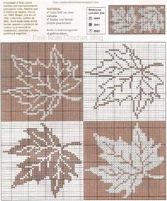 Maple Leaf Pattern ~ Counted cross stitch, or filet crochet. Cross Stitch Pillow, Cross Stitch Borders, Cross Stitch Alphabet, Cross Stitch Flowers, Cross Stitch Designs, Cross Stitching, Cross Stitch Embroidery, Cross Stitch Patterns, Crochet Cross