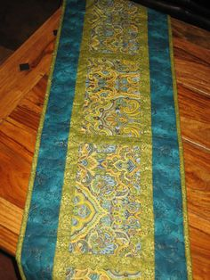 Quilted Table Runner, Paisley Turquoise, Green and Gold, Reversible Runner, Blue Green Paisley, Contemporary Tablerunner, Quiltsy Handmade by TahoeQuilts on Etsy