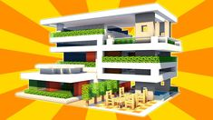 Minecraft: How to Build a Large Modern House Tutorial - Modern Base Tutorial Modern Minecraft Houses, Minecraft Garden, Minecraft House Designs, Minecraft Buildings, Minecraft Ideas, Minecraft Construction, New Instagram, Home And Garden, Base