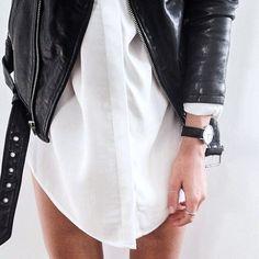 black leather moto jacket & white shirtdress #style #fashion