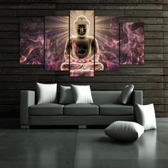 Premium Quality Canvas Printed Wall Art Poster 5 Pieces / 5 Pannel Wall Decor Buddha Meditation Painting, Home Decor Pictures - With Wooden Frame *** Check out the image by visiting the link. (This is an affiliate link) Buddha Canvas, Buddha Wall Art, Buddha Decor, Buddha Painting, Painting Art, Paintings, Canvas Home, Canvas Wall Art, Wall Art Prints
