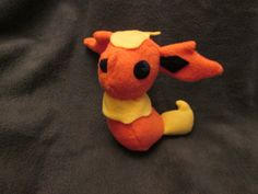 Flareon Pokemon Plush, Geeky, Unique Gift for Video Game Lovers, Nerds, and Kids, Eeveelution Toy, Kawaii Handcrafted Plushie Squishy
