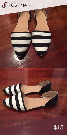 Black & White Lane Bryant Shoes Wide width flats. Only worn once! Lane Bryant Shoes Flats & Loafers