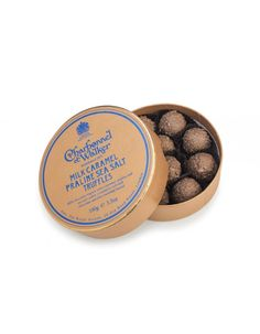 Milk Caramel Praline Sea Salt Truffles - New! - A mouth wateringly delicious milk chocolate truffle with a caramel, praline and sea salt centre, covered in rich milk chocolate and fine crumbled biscuit. 100g