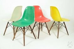 DSW-chairs met dowel base, Charles en Ray Eames.