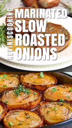 These Marinated Slow Roasted Onions are a side dish that are worth you taking a look at. Not your typical side dish like a green bean casserole or a baked potato, these onions caramelize roast Onion Recipes, Vegetable Recipes, Vegetarian Recipes, Cooking Recipes, Healthy Recipes, Marinated Onions Recipe, Vegetarian Roast Dinner, Skillet Recipes, Salads